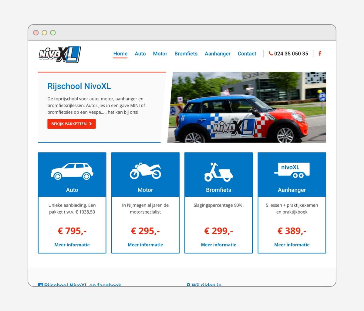 Rijschool NivoXL website door Wielands.nl